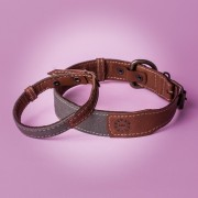 KipraPets_DogCollar_Leather&canvas_collar_Brown&green