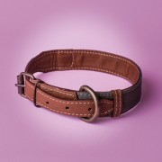KipraPets_DogCollar_Leather&canvas_collar_Brown&green1
